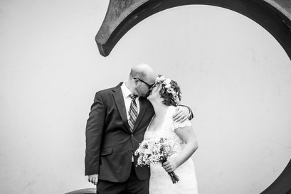 wedding photoshoot of the happy couple in black and white photography