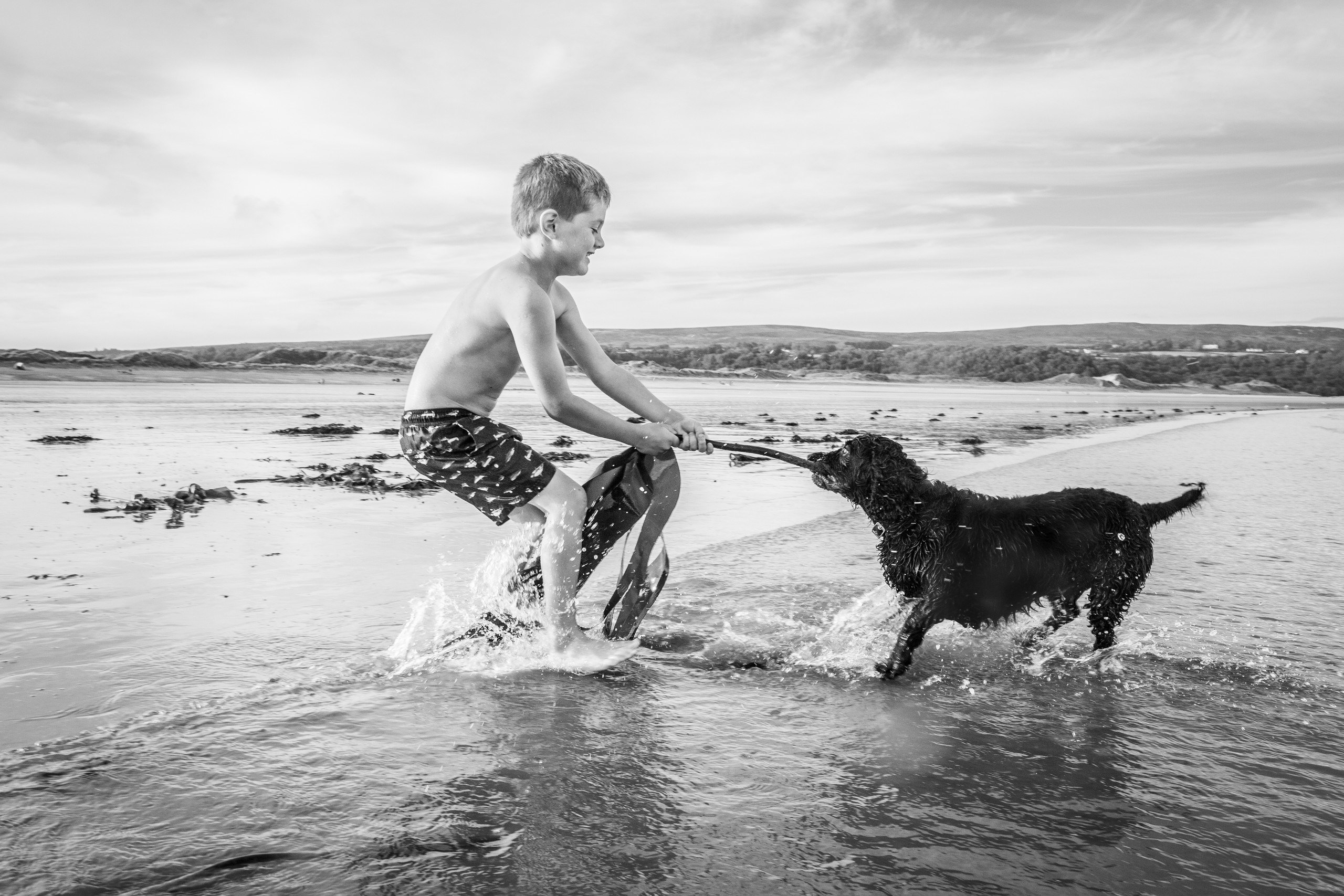 boy plays with his dog on the beach at Oxwich
