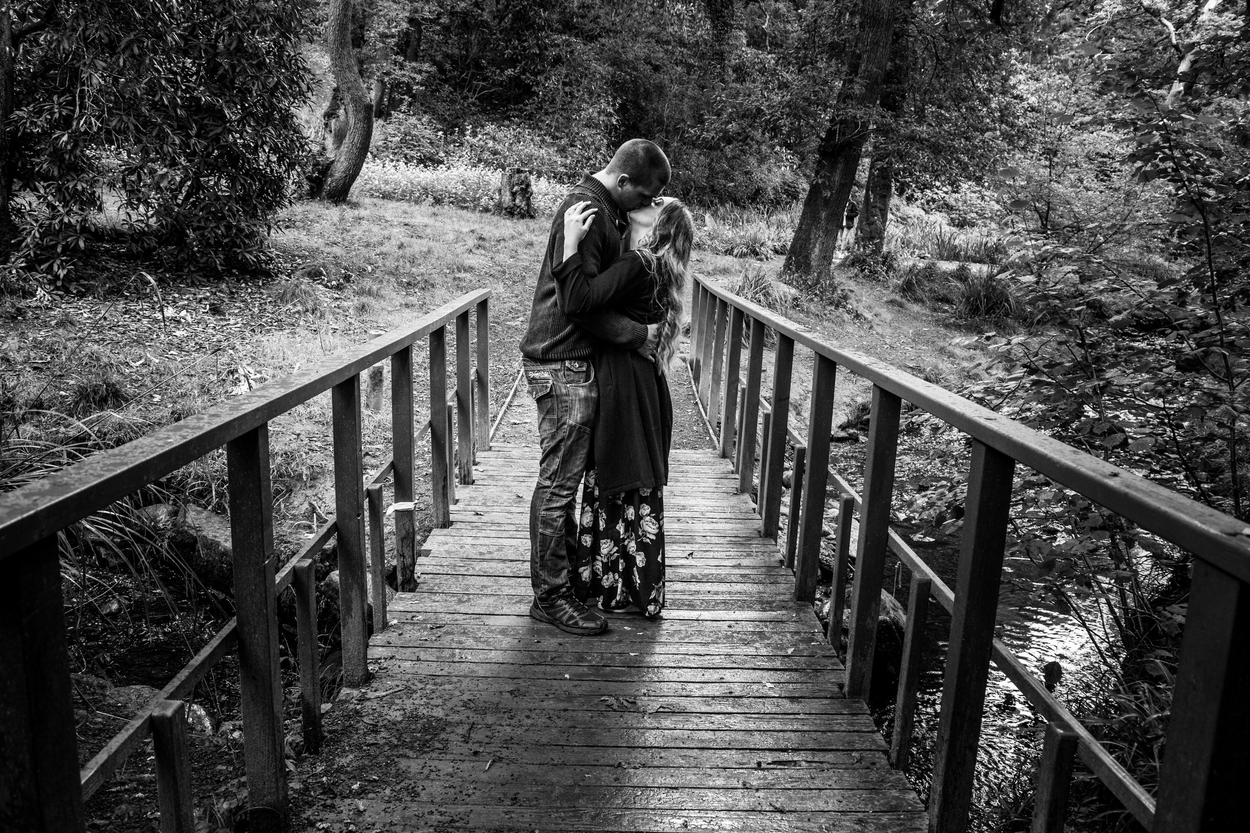 Clyne Gardens Bridge Couple Kiss for Wedding Photography