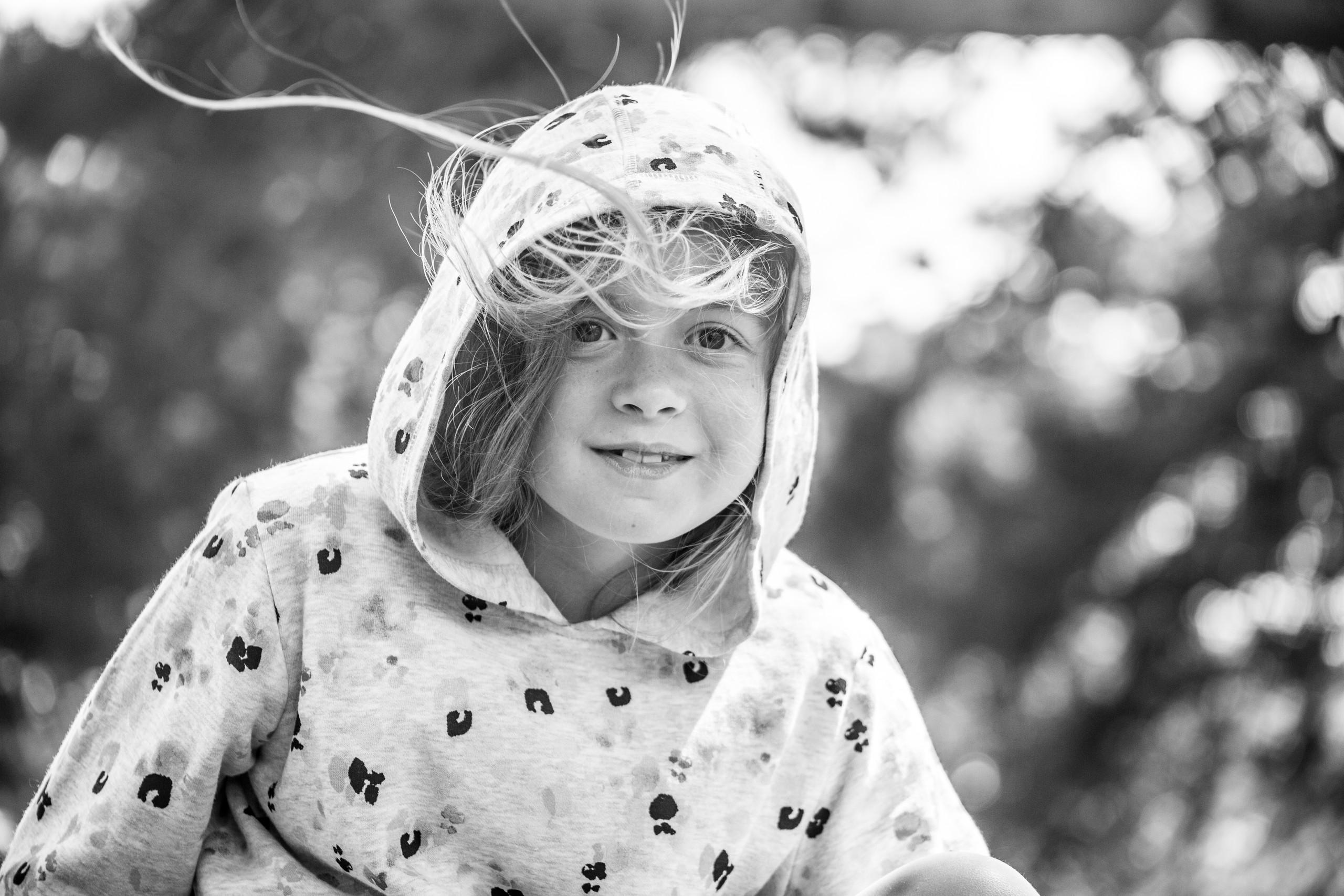 windswept girls in a swansea woodlands