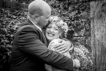 happy couple from south wales pose as newly weds