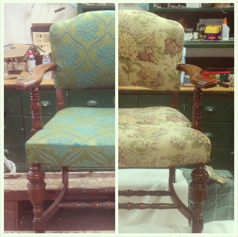 Floral Pattern Chair Before/After