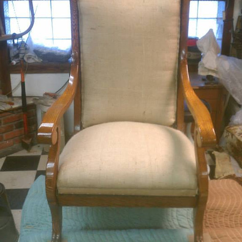 Rocker Refinished, Covered in Muslin Fabric