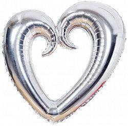 Сердце фигурное серебро, 90см