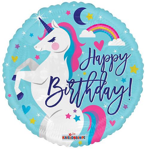 """Круг """"Happy Birthday"""" (единорог), 45 см"""