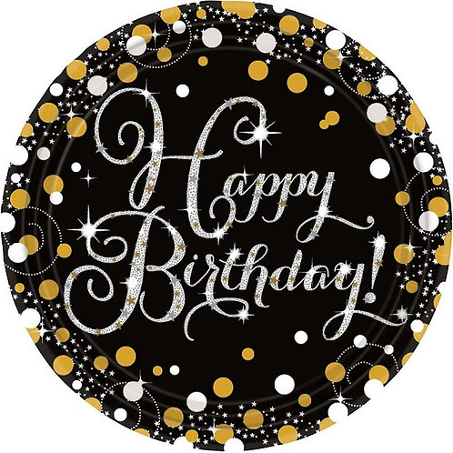 """Круг """"Happy birthday!"""" (золотые блестки), 45 см"""