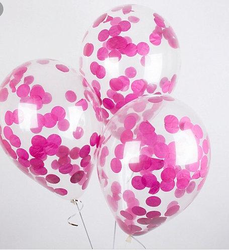 "Шар с конфетти ""монетки"", цвет розовый"