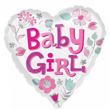 """Сердце """"Baby girl"""", 45 см"""