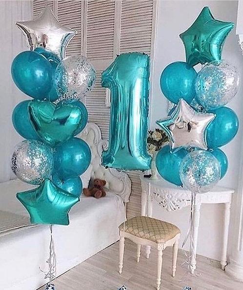 Фонтаны шаров + цифра «Бирюзовый» №168