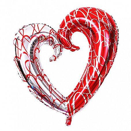 Сердце фигурное красное-серебро, 90см