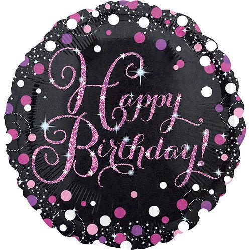 """Круг """"Happy birthday!"""" (розовые блестки), 45 см"""