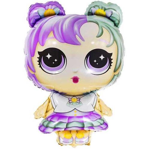 """Шар """"Модная кукла"""" (разноцветные локоны), 81 см"""
