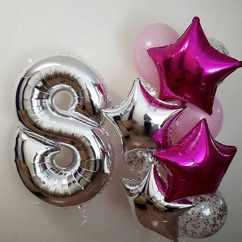 Фонтан шаров + цифра «Серебро в розовом» №126