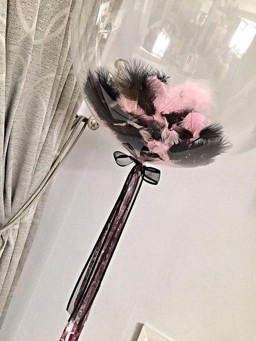 Шар Bubbles с перьями 90см