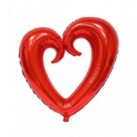 Сердце фигурное красное, 90см