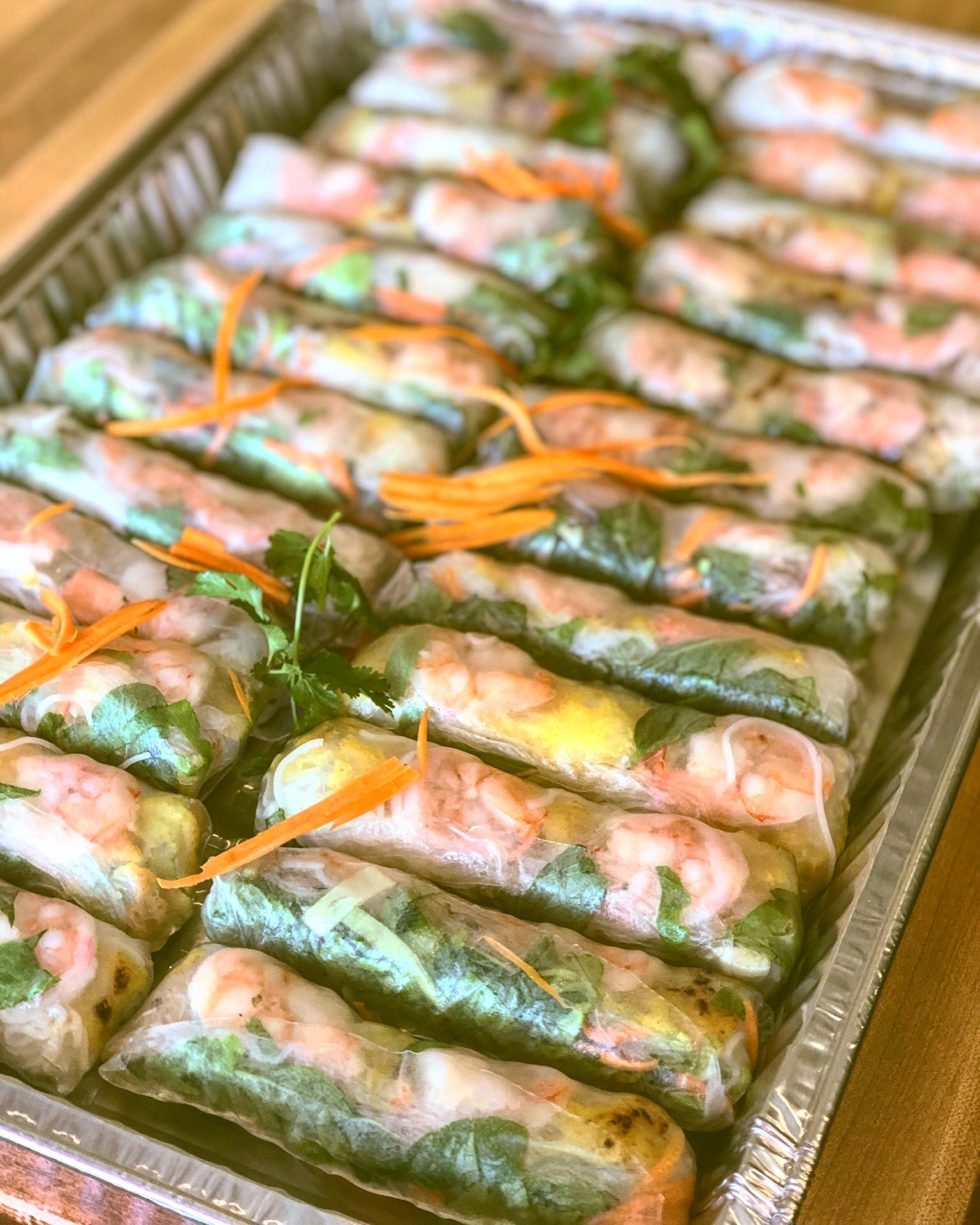 Catering order: Shrimp rolls with crepe