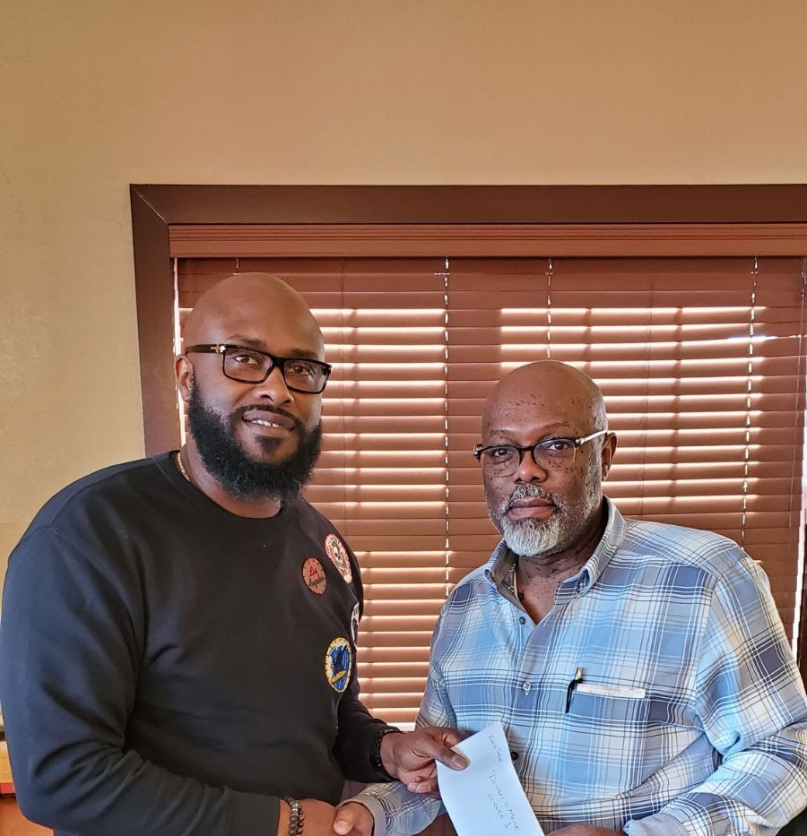 Presenting David H. White Scholarship Raffle Win to Bro. Kevin Sneed of Eden Lodge #72