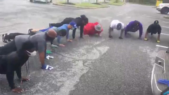 MBJ145 Brothers Supporting Veteran Suicide Prevention with Push Up Challenge