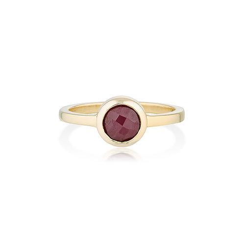 Yellow Gold & Rose Cut Ruby Ring