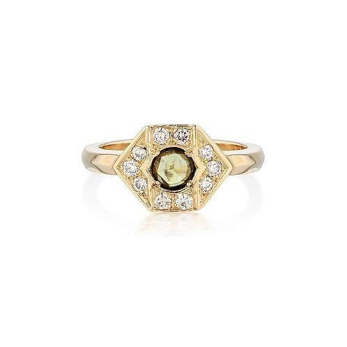 Rose Cut Green Sapphire & Diamond Hexagon Ring