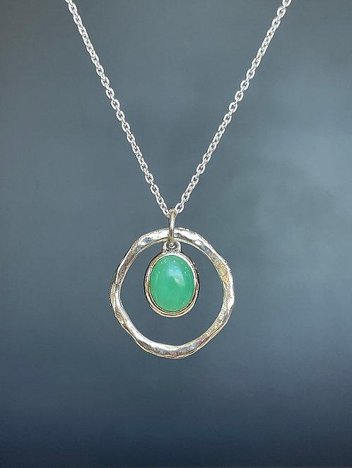 Chrysoprase ellipse necklace