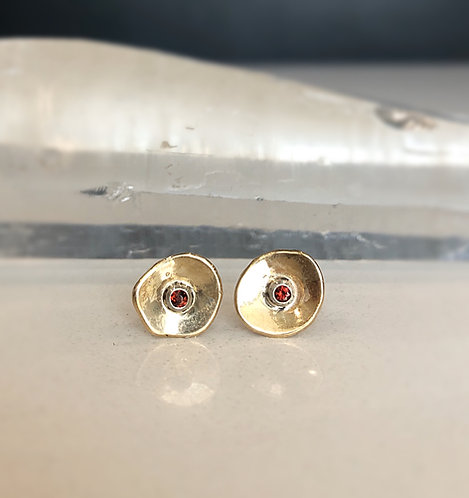 Garnet and gold blossom studs