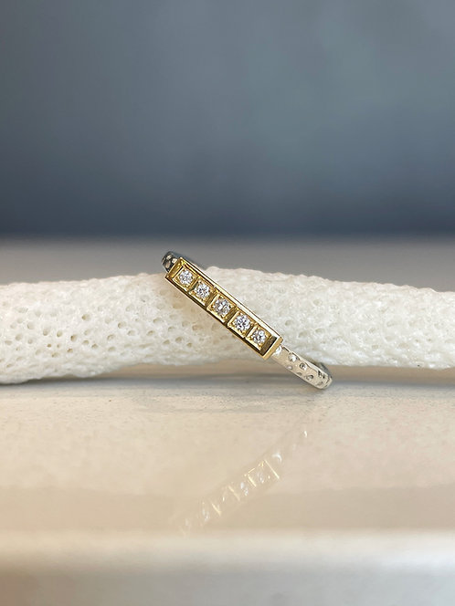 Two tone 18ct and silver diamond bar ring