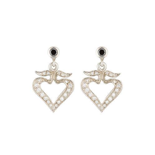 Diamond Winged Heart Earrings