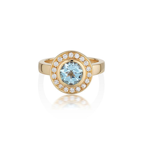 Topaz and diamond cluster ring