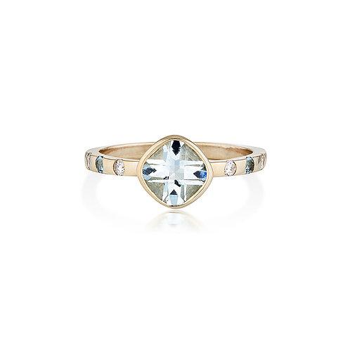 Cushion Cut Aquamarine & Diamond Elena Ring