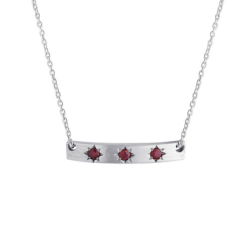Ruby star bar necklace