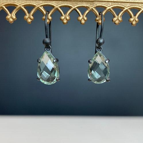 Prasiolite & Oxidised Silver Earrings