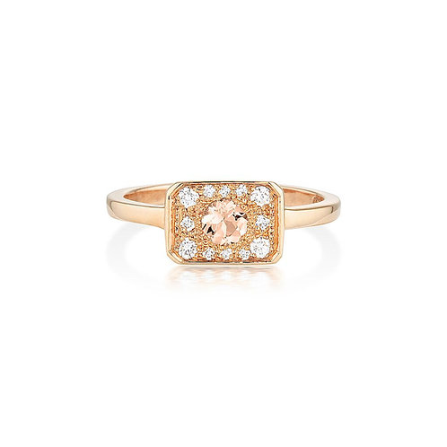Morganite & Diamond Zelda Ring