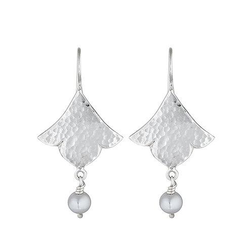 Lotus & Pearl Drop Earrings