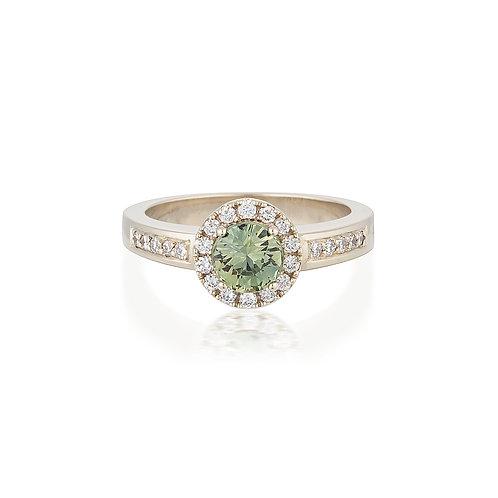 Green Sapphire Halo Ring