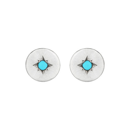 Star set silver and turquoise studs
