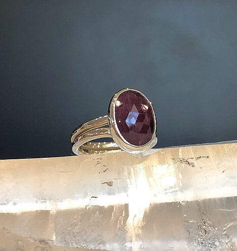 Rose cut oval ruby ring