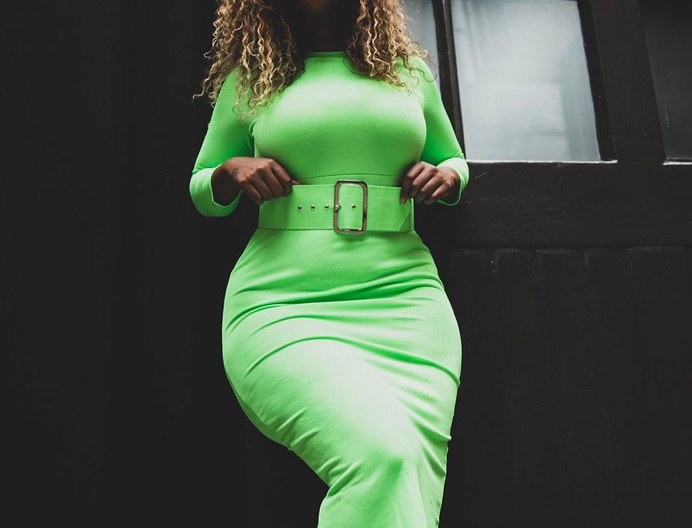 Wide belt dress