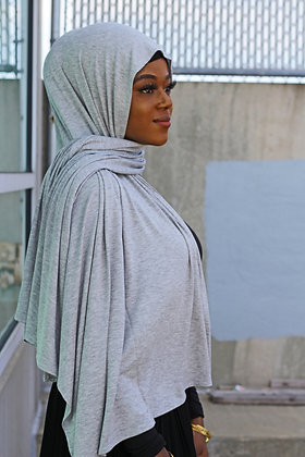 Gray Hoodie Light Weight Jersey Hijab