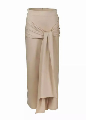 Cream Wrap Maxi Skirt