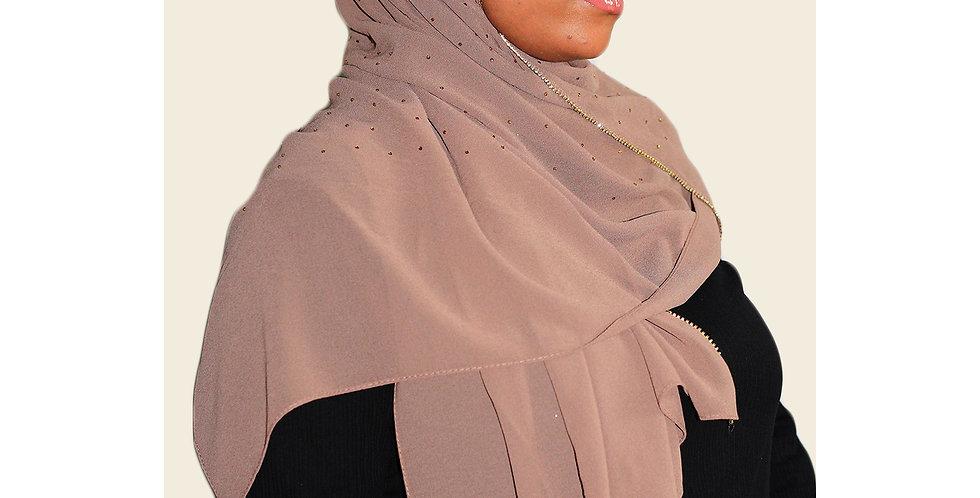 Brown Luxury Rhinestone Chiffon Hijab