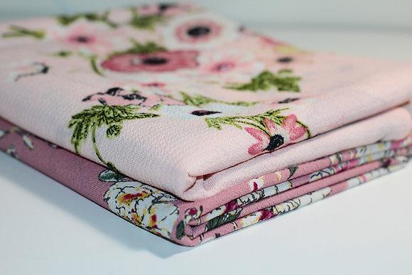 Pink Floral Print Thick Chiffon Hijab Bundle
