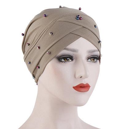 Beige Pearl Turban/ hijab under cap