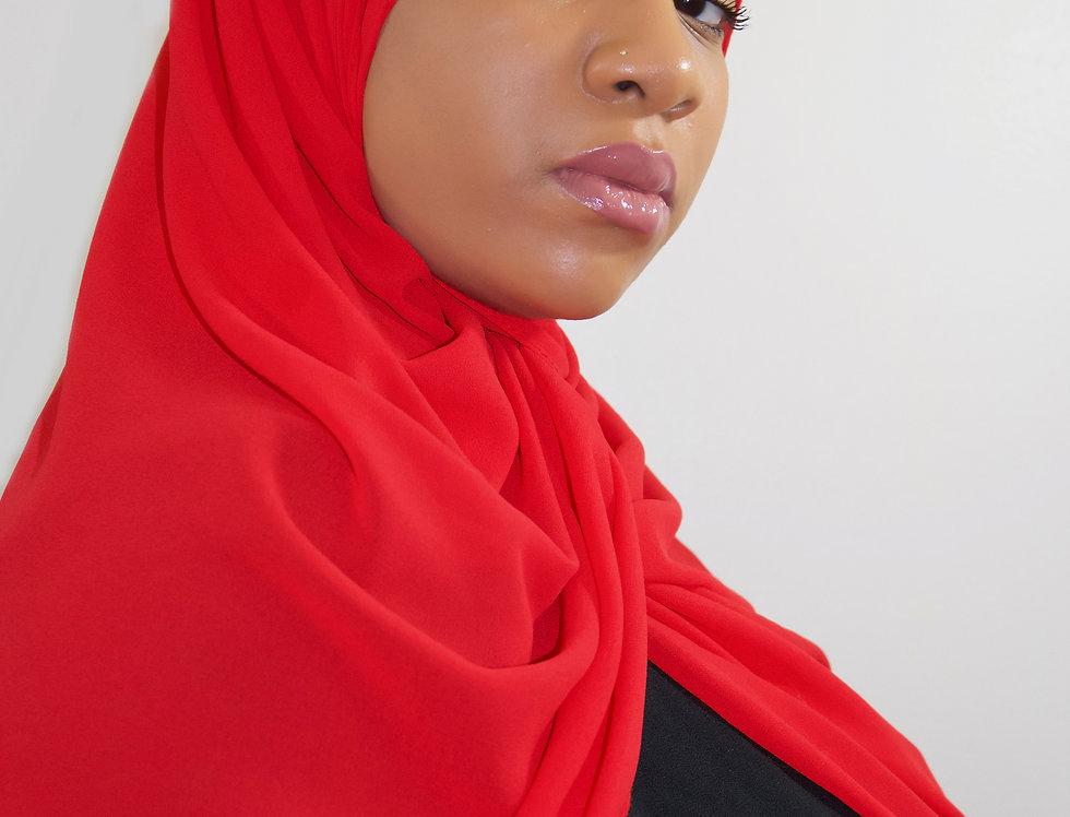 Ruby Red Luxury Chiffon Hijab