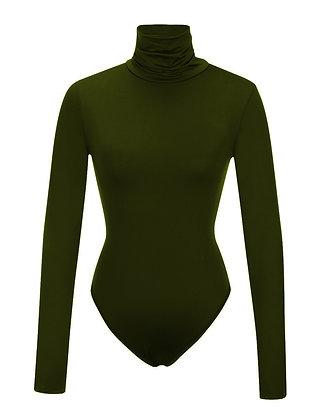 Olive Turtle Neck Bodycon Suit