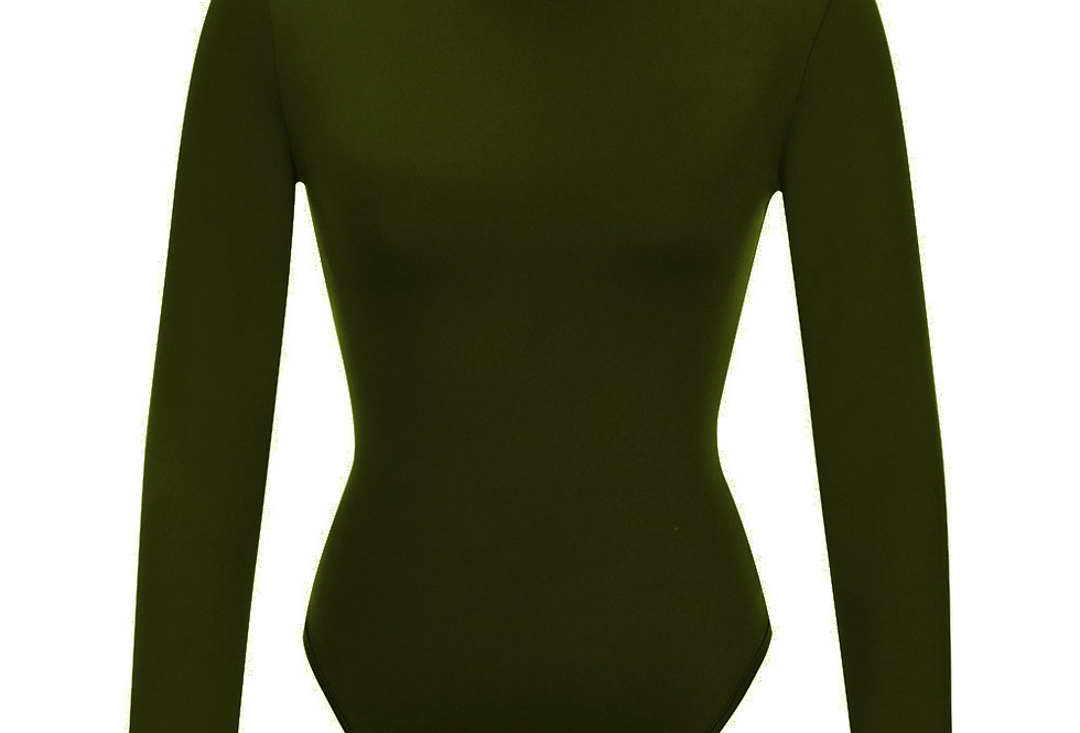 Olive Turtle Neck Bodycon Suit