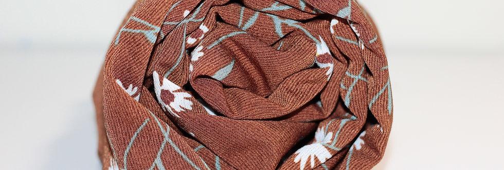 Brown Floral PRINTS Chiffon Hijab