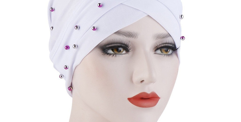 White Pearl Turban/ hijab under cap