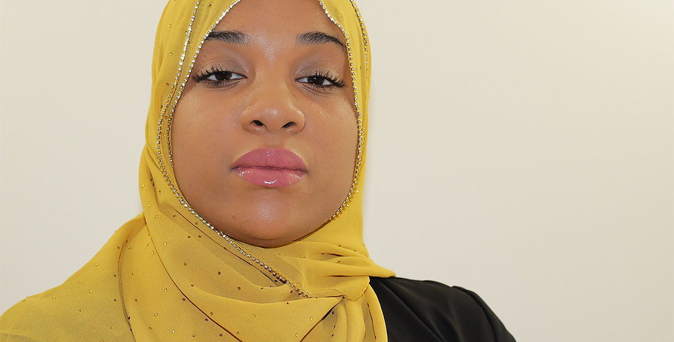 14 Karat Gold Luxury Rhinestone Chiffon Hijab