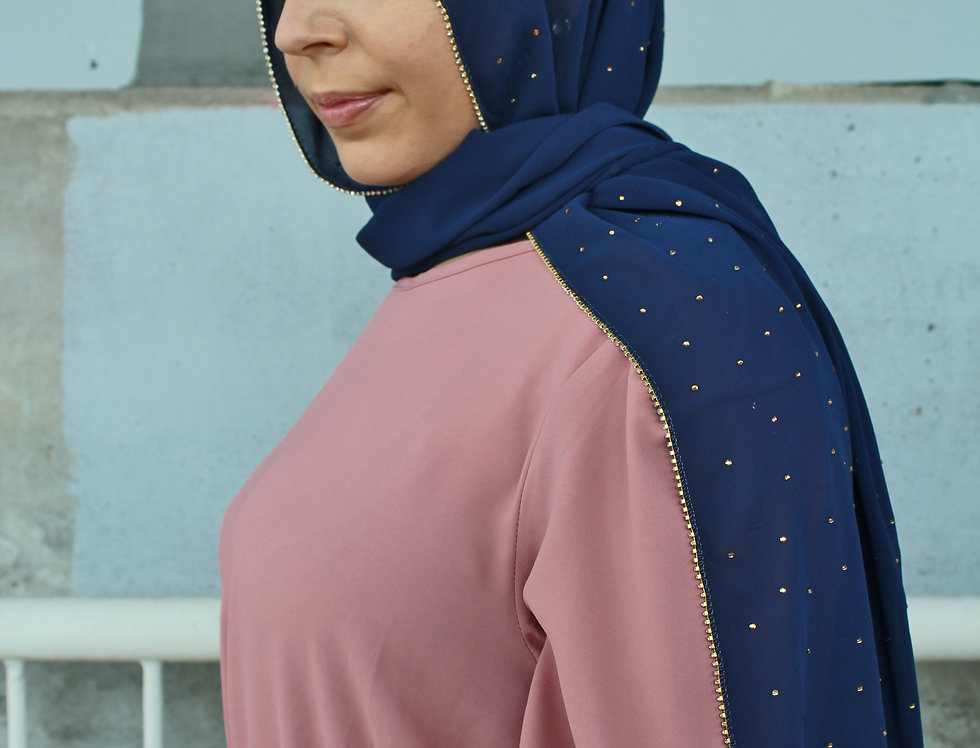 Navy Blue Luxury Rhinestone Chiffon Hijab